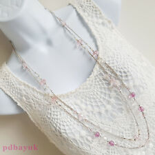 """Ladies Women's Pink Clear Bead Silver Tone Double Strand Necklace 89cm 35"""" ~3516"""