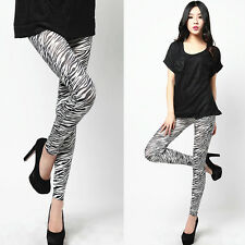 Fashion Women's Zebra Print Black White Animal Elastic Ladies Stretch Leggings