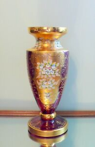 Bohemian Czech Moser Enameled Gold Gilded Cranberry Red Glass Vase 16""
