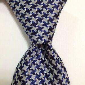 PAUL SMITH Men's 100% Silk Necktie ITALY Luxury Designer HOUNDSTOOTH Blue EUC
