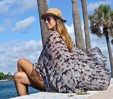 Women Sarong Beige & Black Summer Beach Bikini Coverup Pareo FRINGELESS Wrap
