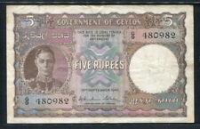 Ceylon 1941-1949 ( 1942 ), 5 Rupees, P36, VF