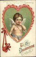 Valentine - Baby Cupid Heat Border Unsigned Clapsaddle c1910 Postcard