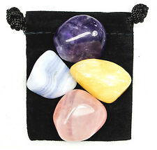 INNER PEACE Tumbled Crystal Healing Set = 4 Stones + Pouch + Description Card