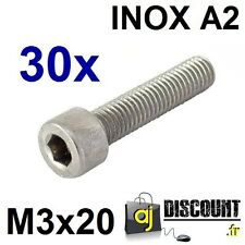 30x Vis CHC (BTR) - M3x20 - INOX A2 - DIN 912 - 6 pans creux