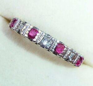 9ct Gold Ruby & Diamond Half Eternity Ring, Size K