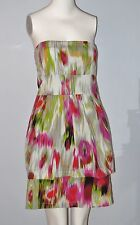 POET Size 9 Multi-Color Strapless Empire Waist Tiered Dress
