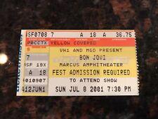 BON JOVI CONCERT TICKET STUB - MARCUS AMPITHEATER (MILWAUKEE) 7-8-2001