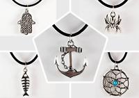 Halskette mit Anhänger Schmuck Damenkette Herrenkette Unisex Hamsa Spinne Anker