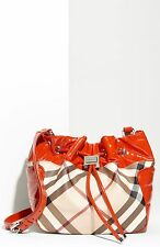 $650+ BURBERRY Drawstring Bag Nova Check Print & Tangerine Orange Trim Leather