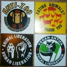 """4 different paper sticker - VEGAN Animal rights  """"EATING ANIMALS NO THANK YOU"""""""
