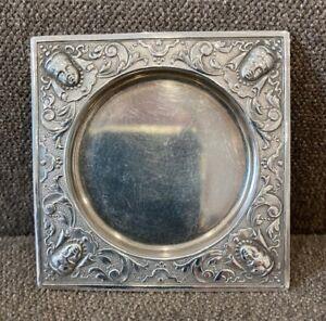Antique WEBSTER Figural Silver Plate Butter Pat -- Female Masks in Corners