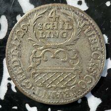 1729-JJJ Germany Lubeck 4 Schilling Lot#BB11 Silver!