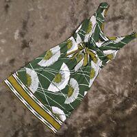 BCBG MAXAZRIA Womens Dress XS Green Leaf Print Cowl Drape Neck Belted