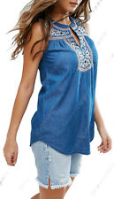 NEW Womens Denim Embroidered Top Sleeveless Floral Vest Ladies Size 8 10 12 14