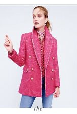 BNWT Womens J.Crew Pink Coat With Gold Button RRP £398 USA Size 00