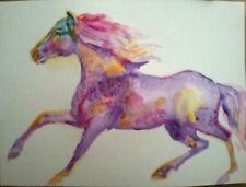 "Horse Art,signed Original watercolor painting print on paper,equestrian art,5x7"""