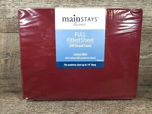 """Mainstays Home Full Fitted Sheet 200 Thread Count Maroon Bordeaux up to 14"""" deep"""