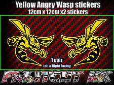 Pair of Angry Wasp Stickers Moto GP laptop helmet bike car scooter vespa hornet