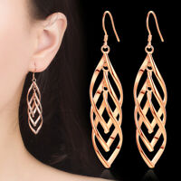 Muye 925 Sterling Silver Double Twist Leaf Drop Dangle Earrings For Womens
