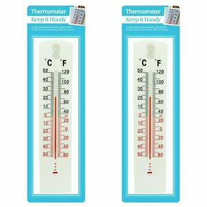 2 x WALL THERMOMETER Indoor Outdoor Home Office Garden Temperature Mounted