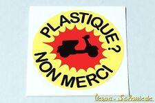 """Dekor Aufkleber """"Plastique? Non merci!"""" - Vespa Lambretta Scooter Roller Sticker"""