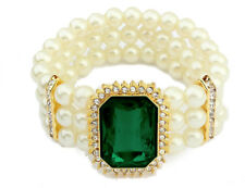 Bridal Vintage Style White Pearls Emerald Green Elastic Bracelet Bangle BB184E