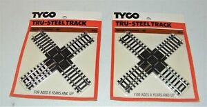 (2) TYCO HO SCALE TRU-STEEL CROSS TRACK 90 DEGREE # 415 RAILROAD CROSSING