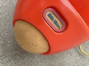 Vtg Plastic Little Tikes Red Orange Airplane Rocket Bucket Swing Rope USA