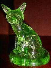 Green Vaseline glass Sly Fox Figurine / uranium yellow paperweight animal neon
