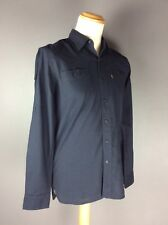 Genuine Mens Medium Levi Long Roll Sleeve Navy Spotty Cotton Shirt Vgc