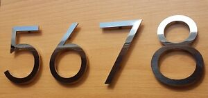 """Large 6""""/15cm stick-on stylish house/door numbers 3mm mirror stainless steel"""