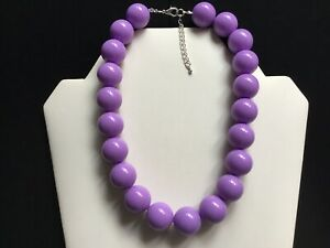 Women's Chunky Purple Bead Choker Necklace