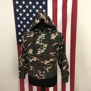 vtg 70s 80s tiger stripe camo hoodie jacket men's MEDIUM mw made in usa 4e648p
