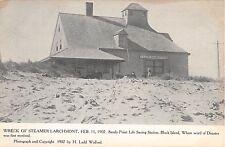 1907 Sandy Point Life Saving Station Block Island RI postcard Stmr Larchmont ser
