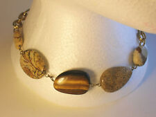 Vintage Agate and Tumbled Stone Necklace - Unsigned -  Circa 1980's