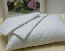 4 X White 100% Cotton Quilted Pillow Protectors with Zip Closure , Brand New !!