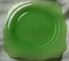 "VINTAGE GREEN DEPRESSION GLASS DESSERT PLATE 7"" SQUARE"