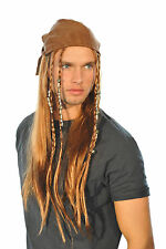 Halloween CARRIBEAN PIRATE JACK SPARROW Bandana WIG MENS FANCY DRESS COSTUME