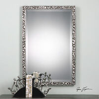 "NEW 39"" BURNISHED METALLIC SILVER HAMMERED METAL BEVELED WALL VANITY MIRROR"