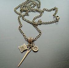 """Seamstress Needle Silk Cord Button Necklace 30"""" Bronze Tone Retro Jewelry"""