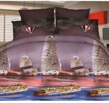 3D Bedsheet Ferry Boat Classic Theme Single Bedding Set with Pillowcase