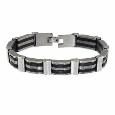 Men's 12mm Stainless Steel Black Striped Bracelet