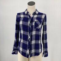 Rails Top Long Sleeve Button Up Shirt Blue Plaid Flannel Pocket Size XS