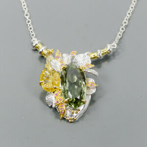 30ct+ Handmade Green Amethyst Necklace 925 Sterling Silver  Length 18.5/N05984