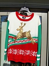 Ugly Christmas Sweater Woman Med Reindeer NWT