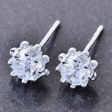 10K White Gold Filled GF Cute CZ Sunflower Stud Earrings Earings 7mm Diam