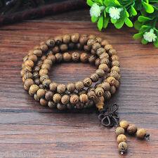 Graubraun Stretch Holzperlen Armband Buddha Gebetsperlen Chinesische Knoten