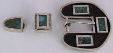 HUGE Taos Pueblo sterling silver, Turquoise inlay ranger set buckle by Doug Nava