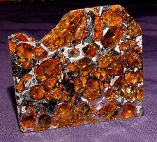 Meteorit Pallasit Brahin beidseitig geätzt, 48x42x2,2mm 18,4g mit Olivinen  陨石